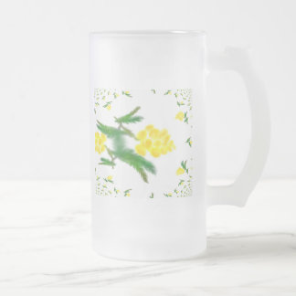 Mimosa Fractal Frosted Glass Beer Mug