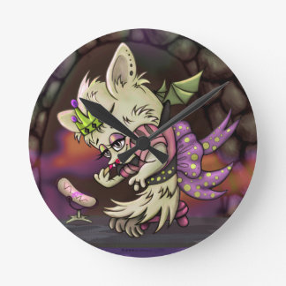 MIMOSA LITTLE BAT HALLOWEEN CLOCK MEDIUM ROUND