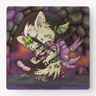 MIMOSA LITTLE BAT HALLOWEEN CUTE CLOCK SQUARE