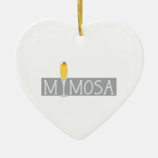 Mimosa Sign Ceramic Heart Decoration
