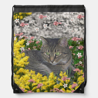 Mimosa the Tiger Cat in Yellow Mimosa Flowers Drawstring Backpack