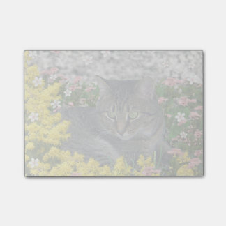 Mimosa the Tiger Cat in Yellow Mimosa Flowers Post-It Notes
