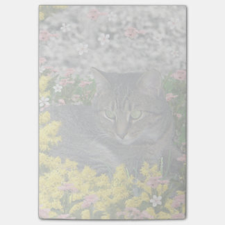 Mimosa the Tiger Cat in Yellow Mimosa Flowers Post-it® Notes