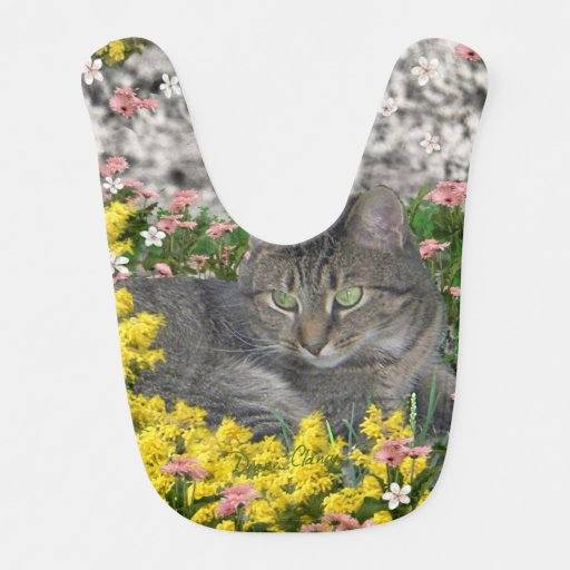 Mimosa the Tiger Cat in Yellow Mimosa Flowers Bibs