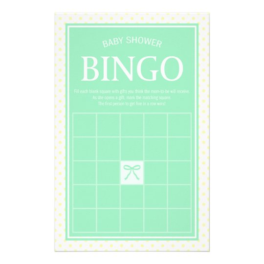 Min Baby Shower Bingo Ribbon and Yellow Polka