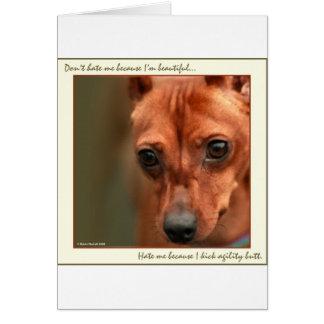Min Pin Beautiful: Agility Greeting Card