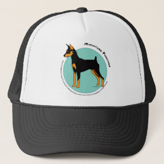 Min Pin Fearless Black and Tan on Green Trucker Hat