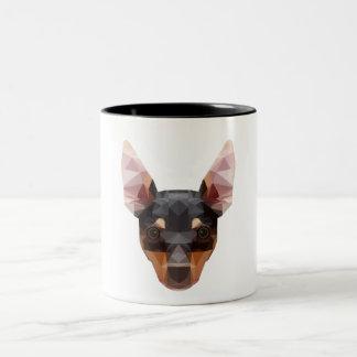 Min Pin Geometric Animal Art Mug Pinscher Dog