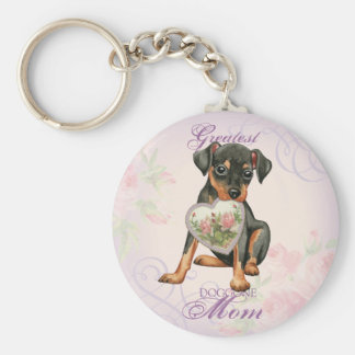 Min Pin Heart Mom Basic Round Button Key Ring