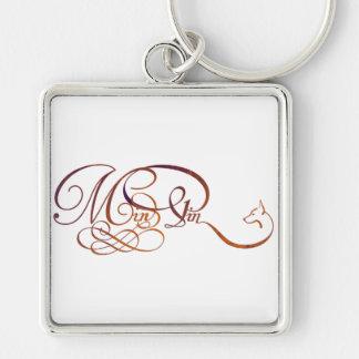 Min Pin in elegant script Silver-Colored Square Key Ring