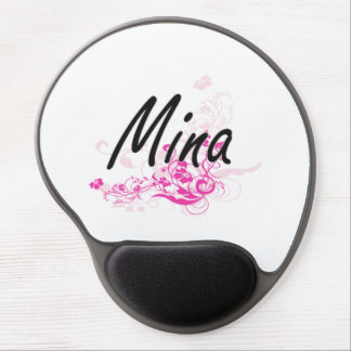 Mina Artistic Name Design with Flowers Gel Mouse Pad