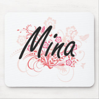 Mina Artistic Name Design with Flowers Mouse Pad
