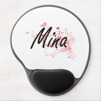 Mina Artistic Name Design with Hearts Gel Mouse Pad