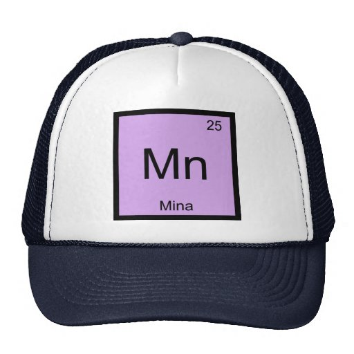 Mina Name Chemistry Element Periodic Table Hats