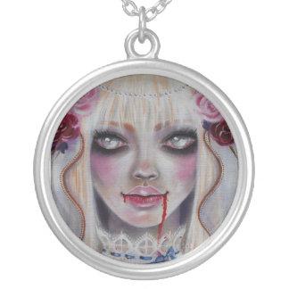 Mina the Vampire Bride Round Pendant Necklace