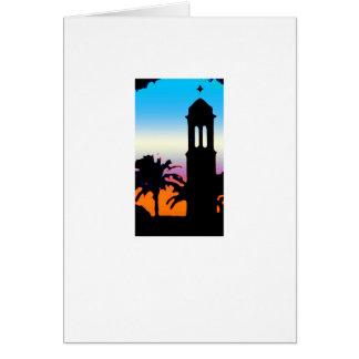 Minaret, blue and orange greeting card