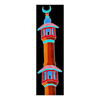 Minaret Stylised Illustration, Multi-Coloured Poster
