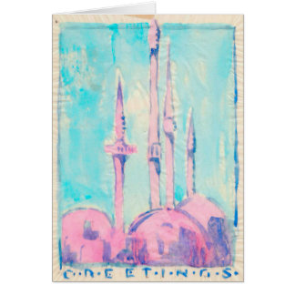 Minarets, the Color Overlay Tissue Greeting Card