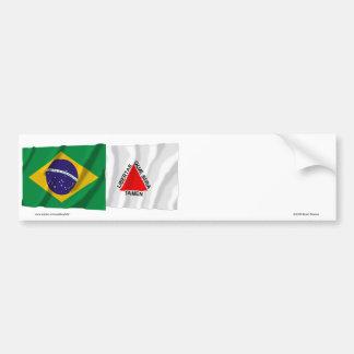 Minas Gerais & Brazil Waving Flags Bumper Sticker