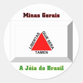 Minas Gerais Flag Gem Round Stickers