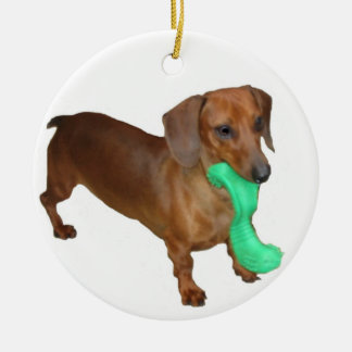 Minature Dachshund Double-Sided Ceramic Round Christmas Ornament
