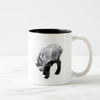 Minature Goat Scratching Two-Tone Mug