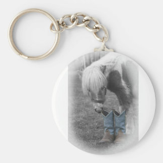 minature horse and boots basic round button key ring