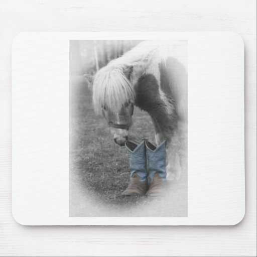 minature horse and boots mousepads