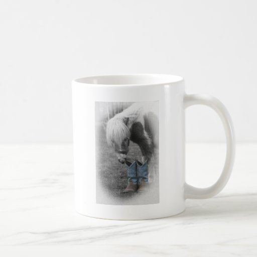 minature horse and boots mugs