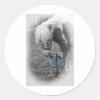 minature horse and boots round sticker