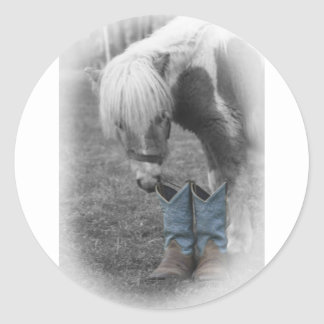 minature horse and boots round stickers