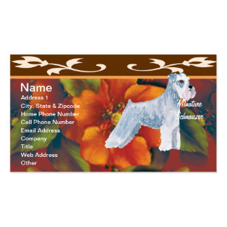 Minature Schnauzer - Autumn Floral Design Double-Sided Standard Business Cards (Pack Of 100)