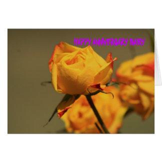 MINATURE YELLOW ROSE ANNIVERSARY Card