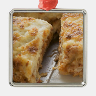 Mince lasagne, a portion cut christmas ornament