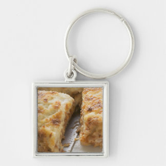 Mince lasagne, a portion cut key ring