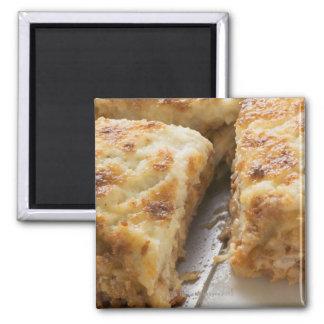 Mince lasagne, a portion cut magnet