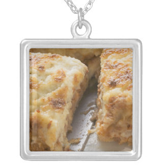 Mince lasagne, a portion cut silver plated necklace