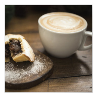 Mince pie and creamy latte coffee 13 cm x 13 cm square invitation card