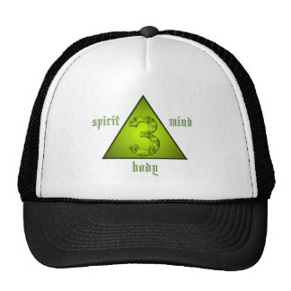 Mind Body Spirit Holistic Triangle Green Three Cap