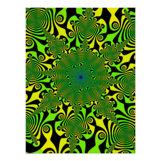 Mind Spinner in Green and Yellow Poster