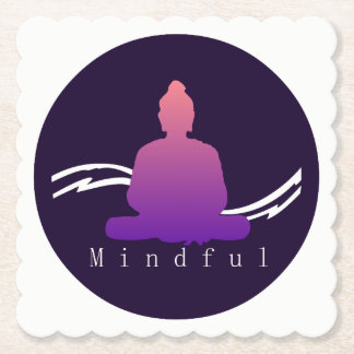 """Mindful"" Beautiful Buddha. Paper Coaster"