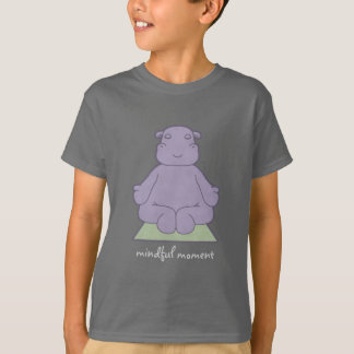 Mindful Moment Hippo Kids Dark T-Shirt