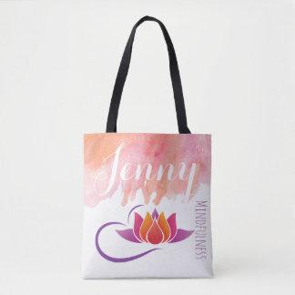 Mindfulness Gift Yoga Lotus Flower Add Name Tote