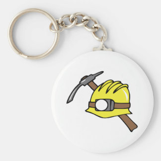 MINER HAT AND PICKAXE BASIC ROUND BUTTON KEY RING