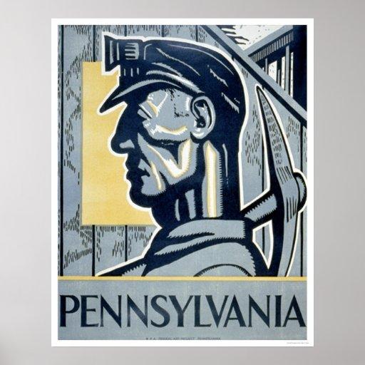 Miner In Pennsylvania 1937 WPA Poster