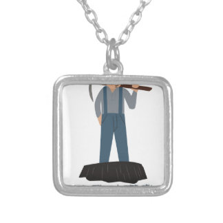 Miner Man Square Pendant Necklace