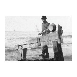 Miner Washing Gold in Alaska Photograph Canvas Print