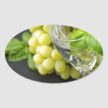 Mineral sparkling water with basil and grapes oval sticker