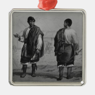 Miners of Chile, engraved by F. Lehnert Silver-Colored Square Decoration