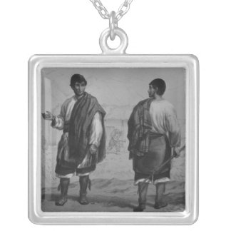 Miners of Chile, engraved by F. Lehnert Silver Plated Necklace